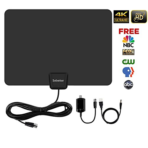 HDTV Antenna -Amplified Digital TV Antenna 50-80 Miles Range Support 1080p 4K& All TV's & with 2018 Newest Detachable Amplifier Signal Booster / Long Coax Cable for Indoor by Sobetter