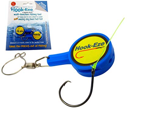 Hook-Eze Fishing Tool (Blue) Hook Tying & Safety Device + Line Cutter - Cover Hooks on 2 Poles & Travel Safely fully rigged. Multi function Fishing Device
