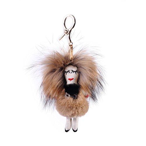 URSFUR Piel de zorro muñeca de muchacha de pelo largo bolsa de cadena dominante de coche de conejo marrón