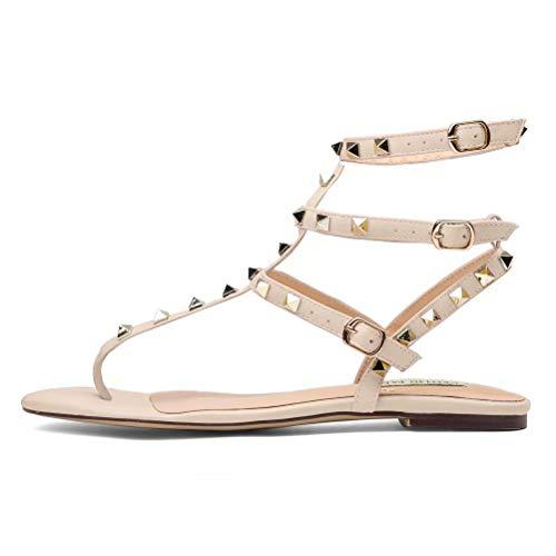 CHRIST Women's Leather Studded Sandals T-Strap Slingback Flats Backless Flip-Flops Dress Sandals Nude Size 5