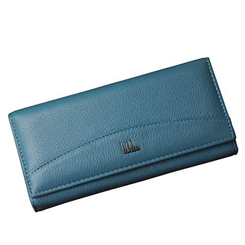 Wlallet for Women Leather, Women's Lady Leather Wallet Purse Credit Card Clutch Holder Long Wallets Light Blue