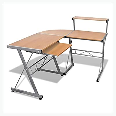 K&A Company Computer Desk Workstation with Pull Out Keyboard Tray Brown