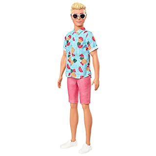 Barbie Ken Fashionistas Doll #152 with Sculpted Blonde Hair Wearing Blue Tropical-Print Shirt, Coral Shorts, White Shoes & White Sunglasses, Toy for Kids 3 to 8 Years Old