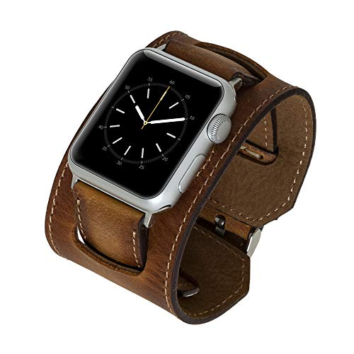 Venito Ancona Cuff Handmade Premium Leather Watch Band Compatible with The Newest Apple Watch iwatch Series 5 as Well as Series 1,2,3, 4 (Antique Brown w/Silver Stainless Steel Hardware, 38mm-40mm)