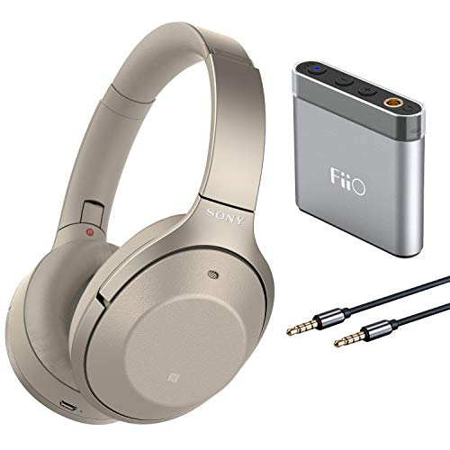 Sony WH1000XM2 Noise Cancelling Headphones with FiiO A1 Silver Portable Amp and 3.5mm TRRS Audio Microphone Cable Gold