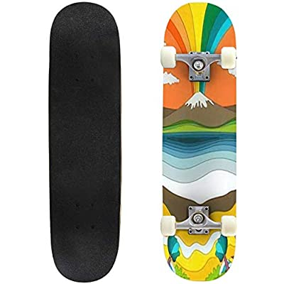 Classic Concave Skateboard 1960s Psychedelic Pattern Poster Cover Template Vintage Colors Longboard Maple Deck Extreme Sports and Outdoors Double Kick Trick for Beginners and Professionals : Sports & Outdoors