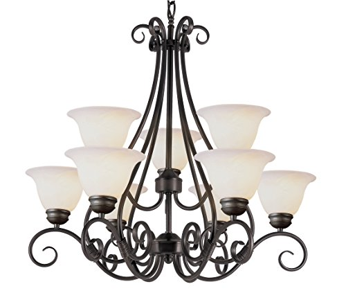 Trans Globe Lighting 6399 ROB Chandelier with White Glass Shades, Rubbed Oil Bronze Finished