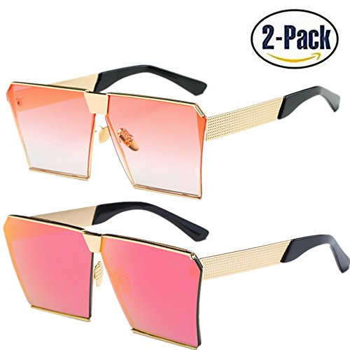 JOJO'S SECRET Oversized Square Sunglasses Metal Frame Flat Top Sunglasses JS009 (Gold/Transparent Red+Gold/Pink, - Oversized Sunglasses Mens