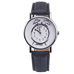 Hot Casual Faux Leather Alarm Clock Shape Printing Analog Quartz Wrist Watch