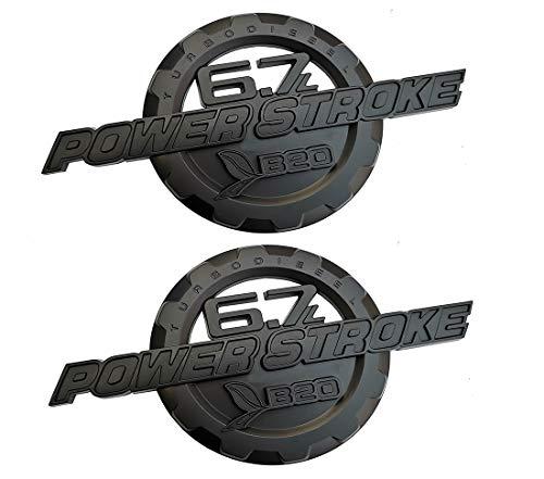 (2Pcs 6.7L Power Stroke Emblems, Turbo Diesel 3D Side Fender Door Emblems Nameplate Badges Replacement for F250 F350 (Matte black))