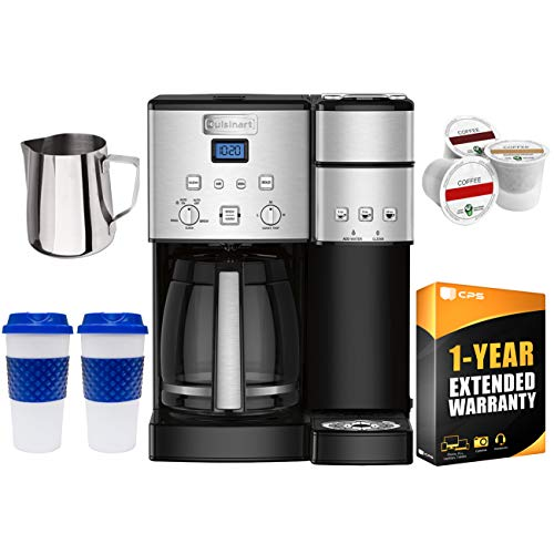 Cuisinart SS-15 12-Cup Coffee Maker and Single-Serve Brewer, Stainless w/K Cups, Carafe, to Go Cups and Extended Warranty ()