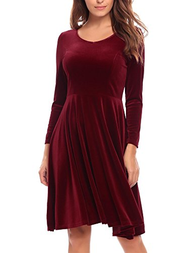 Dress Velvet (Burlady Women's Casual Long Sleeve Velvet Solid A-Line Pleated Hem Sexy Swing Dress,Wine Red,X-Large)