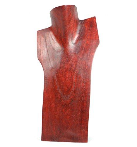 Busto espositore per collane in legno massello Rosso 30cm Artisanal