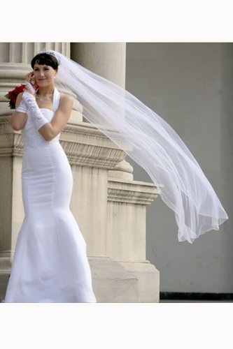 Bridal Veil Ivory 1 Tier Cathedral Length Edge With Beads And Crystals by Velvet Bridal (Image #2)