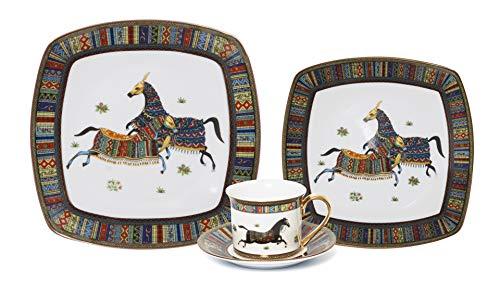 Royalty Porcelain Vintage Design Square 16-pc Dinnerware Set 'Greek Horse Cheval', Premium Bone -