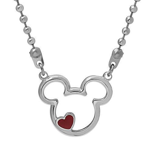"Disney Mickey Mouse Jewelry for Women and Girls, Stainless Steel Classic Mickey Mouse Head with A Red Heart Accent Pendant Necklace, 18"" Chain Mickey's 90th Birthday Anniversary"