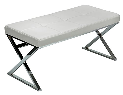 Contemporary Vanity Bench (Cortesi Home Zio Contemporary Metal Entryway X- Bench in Leather like Vinyl, White)