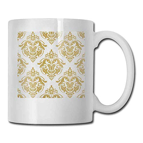 Damask Tea Cup Baroque Victorian Ancient Design with Floral Swirls Dots for Classical Lovers for Office and Home Yellow and White 11oz
