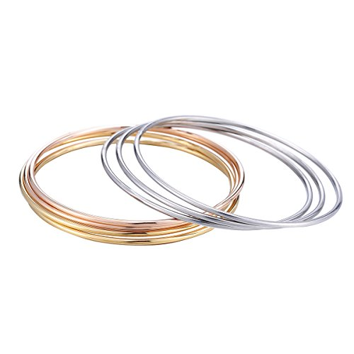 (7 Tri-color Silver/Gold /Rose Gold Smooth Stainless Steel Stackable Bracelet Bangle Set Charm for Women Girls)