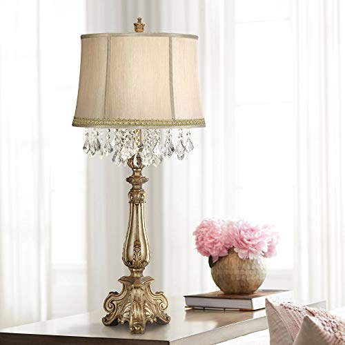 - Dubois Traditional Console Table Lamp Antique Gold Ornate Crystal Lace Rhinestone Trim Shade for Living Room Bedroom - Barnes and Ivy