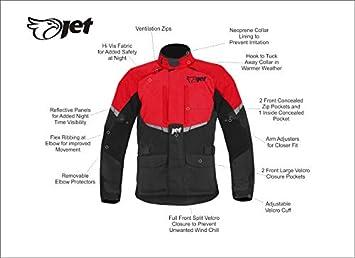 EU 58-60 Rouge, 4XL JET Blouson Veste Moto Homme Imperm/éable Avec Armure Textile Tourer