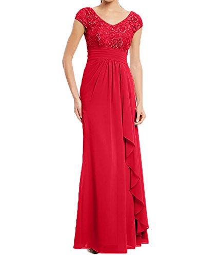 Kleider Standsamt Jugendweihe Damen Kleider Lang Rot Abendkleider  Brautmutterkleider Spitze Kurzarm Charmant xC8wPgRqg ... 6035ba357c