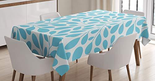 Ambesonne Leaves Tablecloth, Monochromatic Lush Foliage Feminine Nature Pattern Spring Season Illustration, Dining Room Kitchen Rectangular Table Cover, 52