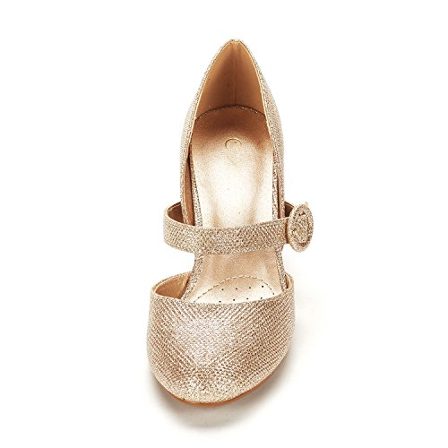 Shoes CHARLEEN Heel Classic DREAM Pumps High Toe Fashion Gold Dress Pointed Glitter Women's PAIRS anEPEwxq1F