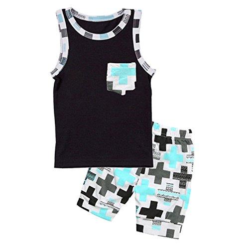 Baby Boy Summer Beach Cross Printing Tank Top+Pants Outfit Set (0-6Month, Black)