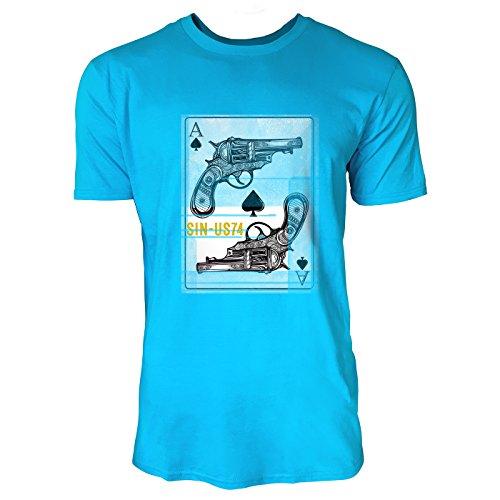 SINUS ART® Pik Ass Karte mit Revolvern Herren T-Shirts in Karibik blau Cooles Fun Shirt mit tollen Aufdruck