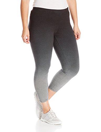 Calvin Klein Performance Women's Plus Size Ombre Dip Dye Stripe Legging, Black, (Ombre Dip)
