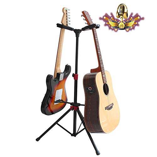 Double Guitar Stand, Folding Tripod with Smart Lock, Easy to Install Adjustable Height Non-Slip Floor Stand, Vertical Instrument Display Rack for Studio/School/Family -Keeps Safe…