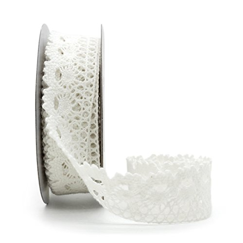 Cotton lace ribbon 7/8 inch (22mm) x 5yards - White.Floral Lace Trimming Bridal Wedding, Table Tops, Card Boxes, Gift, Sewing, Baby Shower.