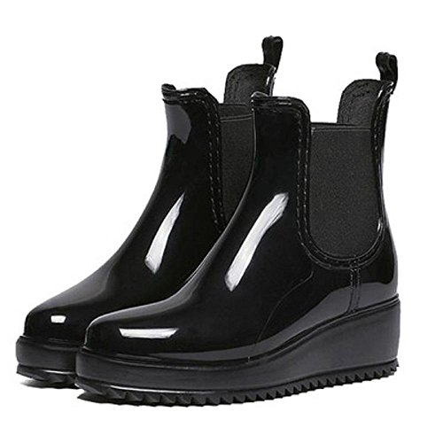 Spring and Autumn Fashion Lady Anti-slip Waterproof Rain Boots Black rAeVblEC