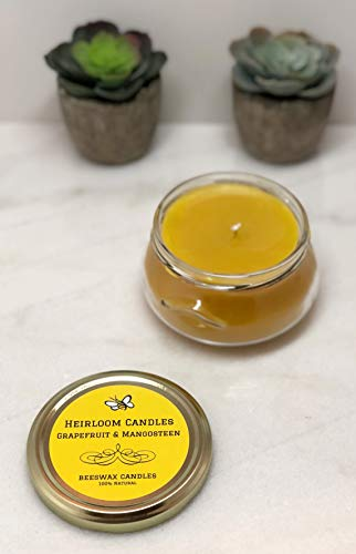 Grapefruit and Mangosteen Beeswax Candle - Pure Organic Beeswax, Citrus Honey Candle - Handmade, 6oz