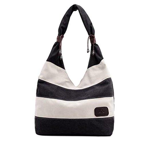 Mädchen-stilvolle Schulter-Beutel-Handtaschen-Segeltuch-Beutel-Streifen-Art und Weise, Schwarzes