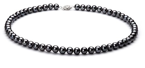 PearlsOnly - Black 6-7mm AA Quality Freshwater 925 Sterling Silver Cultured Pearl Necklace-18 in Princess length by PearlsOnly