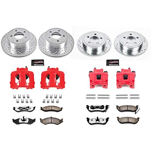 Power Stop KC2154-36 Front & Rear Z36 Truck and Tow Brake Kit with Calipers Brake Bleed Conversion Kit