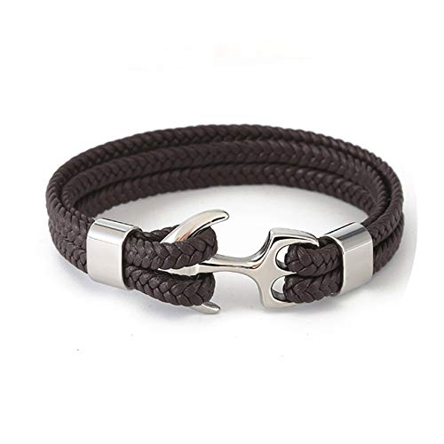 Cyan mango Stainless Steel Hook Leather Anchor Bracelets Handmade Cuff Bracelet for Men Or Women Gift,As picture15,21cm