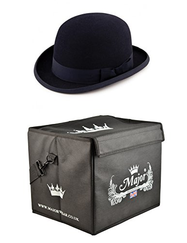 Major tragen schwarz Wollfilz steif Bowler Hat Satin gefüttert mit Hat Box Gr. 59 cm-L, schwarz