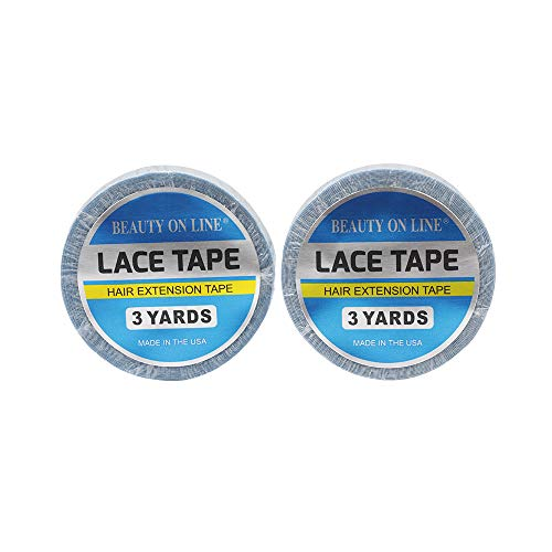 2 Rolls Double-Sided Lace Front Support Tape, No Shine (0.8 cm X 3 Yards) Super Adhesives for Lace Front Wigs, Toupees, Hair Extensions, Hairpieces (blue)
