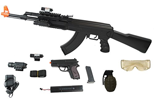 UKARMS AK47 Airsoft Electric Rifle AEG Full Auto TACTICAL BLACK Laser and Light,Type: Auto Electric Gun (AEG)