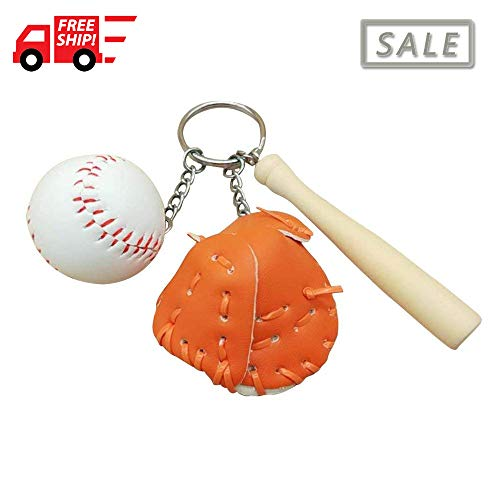 Baseball Glove and Bat Model Keychain Mini Novelty Handbag Car Lover Sport -Orange