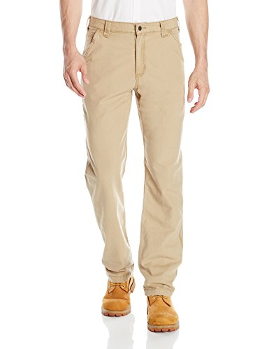 Carhartt Men's Rugged Flex Rigby Dungaree Pant, Dark Khaki, 44W  X 30L (Duluth Trading Company Clothing)
