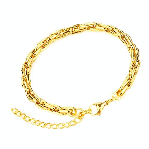 Q&S Jewels 6mm Womens Mens Bracelet 18K Gold Plated Stainless Steel Wheat Chain Bracelet Adjustable Friendship Rope Chain Bracelet 8inches with 5cm Adjustable Extension Chain
