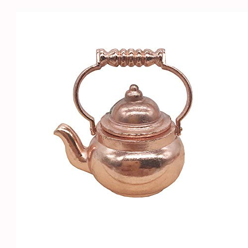 Onegirl 1/12 Dollhouse Accessories and Furniture, Mini Copper Cooking Pan Kettle Pot for 1:12 Miniature Dollhouse DIY Furniture Accessories Kitchen Decoration Kids Pretend Play Toy (Mini Kettle)