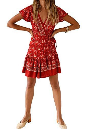Minipeach Women's Summer Deep V Neck Bohemian Floral Printed Ruffle A Line Beach Mini Dresses with Belt