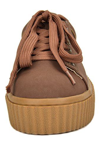 Toetos Dames Reinna-01 Lace Up Platform Sneakers Schoenen Bruin