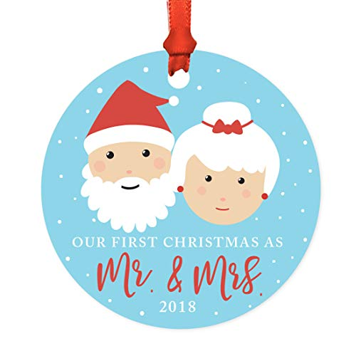 Andaz Press Wedding Couple Metal Christmas Ornament, Our First Christmas as Mr. & Mrs. 2018, Santa and Mrs. Claus with Elf, 1-Pack, Includes Ribbon and Gift Bag -  APP12142