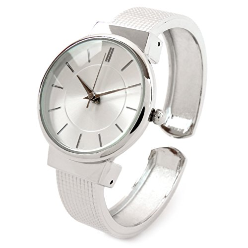 - Silver Mesh Style Band Large Dial Classic Women's Bangle Cuff Watch